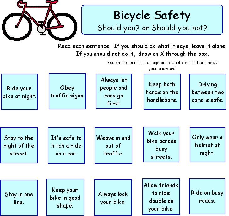 Bicycle Safety Worksheet Images & Pictures - Becuo